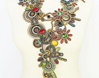 Soutache necklace. Statement soutache jewelry. Soutache handmade necklace. Soutache handmade jewelry.