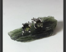 Moldavite earring studs with screw