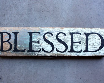 "Reclaimed Rustic Salvaged Wood ""BLESSED"" Home Decor Sign Black White Green"