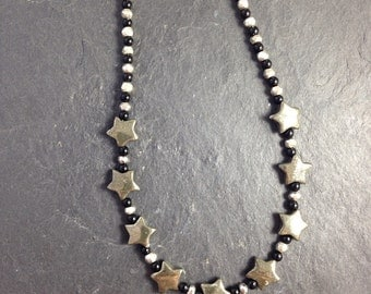 Pyrite and black agate star necklace