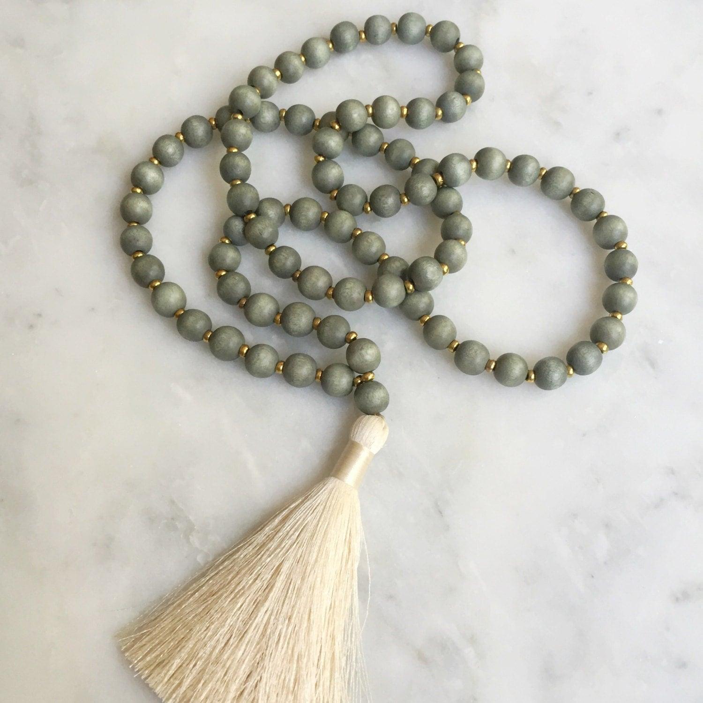 neutral wood bead silk tassel necklace