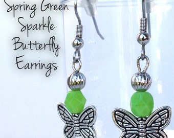 Butterfly Dangle Earrings with Bright Green Faceted Glass Beads