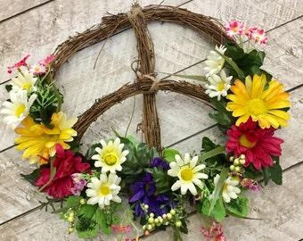Peace Sign Wreath, Boho Wreath, Flower Wreath, Front Door Wreath, Wall Decor, Spring Wreath, Floral, Boho Decor, Wall Art, Grapevine, Hippie