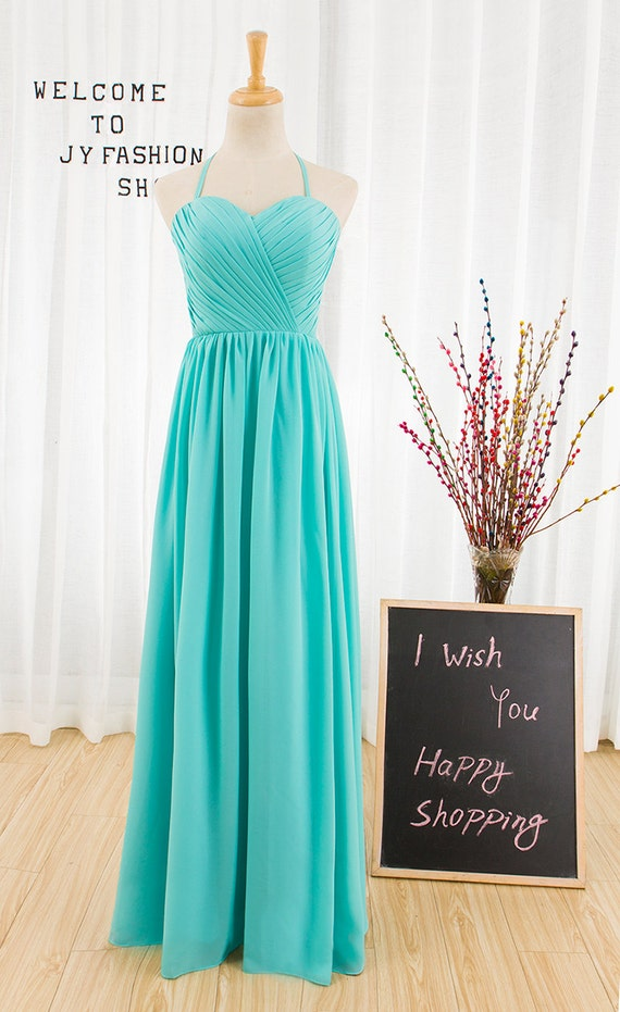 Sexy Blue chiffon prom dress,Long Hanging neck evening dress,bridesmaid dress party dress