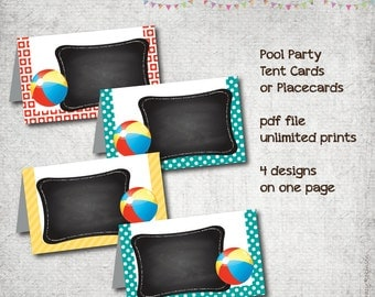 Pool Party - Tent Cards - Placecards