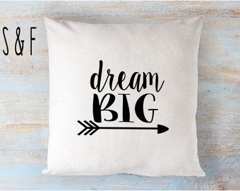 dream big pillow 16 x 16 pillow cover zip closure nursery cute
