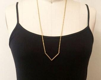 Single Chevron Necklace in Bright Brass