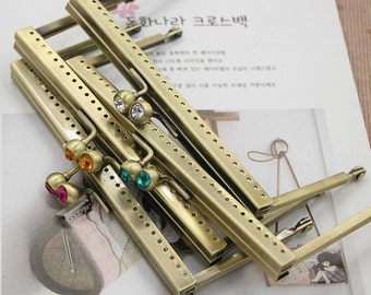 1 PCS, 15cm / 5.9 inch  Simple Colorful Solid Bead head Antique Brass Kiss Clasp Lock Purse Frame