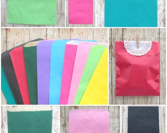 "25 Paper Gift Bags 6 x 9.25"", Choose Your Color, Party Favor Bag, Wedding Favor Bag, Shower Favor Bag, Flat Paper Merchandise Bags"
