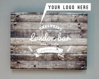 Custom logo Canvas,  Logo print on wood style canvas