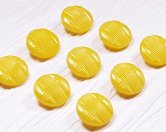 Set of 9 Bright Yellow Glass Buttons ~ 18mm ~ Rare Antique CZECH GLASS BUTTONS ~ Set of 9 Vintage Buttons