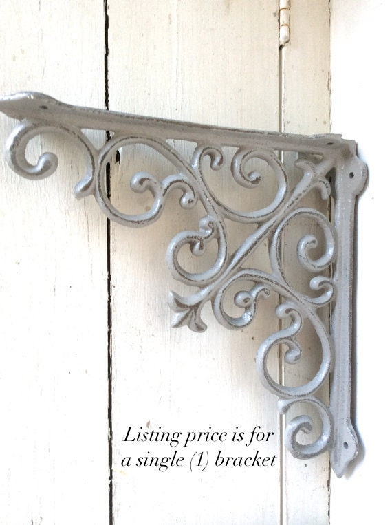 shabby chic iron brackets shelf decor gray metal cottage elegant bracket with lip for sale decorative lowes