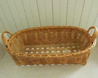 Handwoven Utensil Basket with Handles - Handmade Utilitarian Woven Basket - Country Kitchen Storage Basket - Hand Crafted Artisan Basket