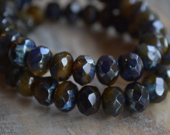 10 Indigo & Brown Czech Picasso Beads 8x6mm- Faceted Rondelle- Muddy Waters (679-10)