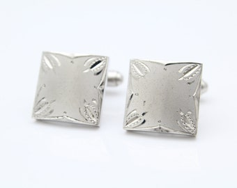 Vintage Square Swank Cufflinks with Contrast Textures in Sterling Silver. [8704]