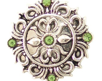 KB6487  Antiqued Silver Medallion w/Green Crystal Accents