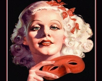 Art Deco Jean Harlow Print, Silent Screen Icon, Hollywood Glamour Portrait, Holding Red Mask, Wall Decor,1935 ,Giclee Fine Art Print ,11x14