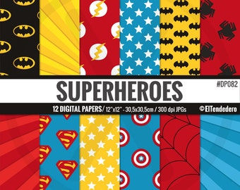 Superhero digital paper pack - Superheroes backgrounds inspired by batman, superman, spiderman, flash and captain america -Comic backgrounds