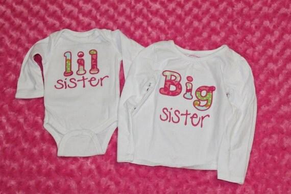 Big sister shirt, little sister shirt, sibling shirts, new baby shirts