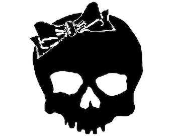 Goth Girl Skull Decal - sticker Ipad xbox ps3 laptop art playstation pc skin case window car auto graphics emo goth gothic metal AA19