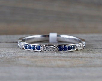 One ONLY 14k White Gold Round Cut Blue Sapphire And Diamond Engagement Pave Stackable Stacking Promise Ring Anniversary