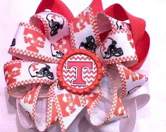 Tennessee Vols Hair Bow , Tennessee Volunteers , Football Hair Bow , Octopus Bow , Double Bow , Go Big Orange , Rocky Top , 8 Loop Bow