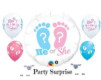He or She Gender Reveal Balloons Boy or Girl Baby Footprints Balloons Gender Reveal Party balloons