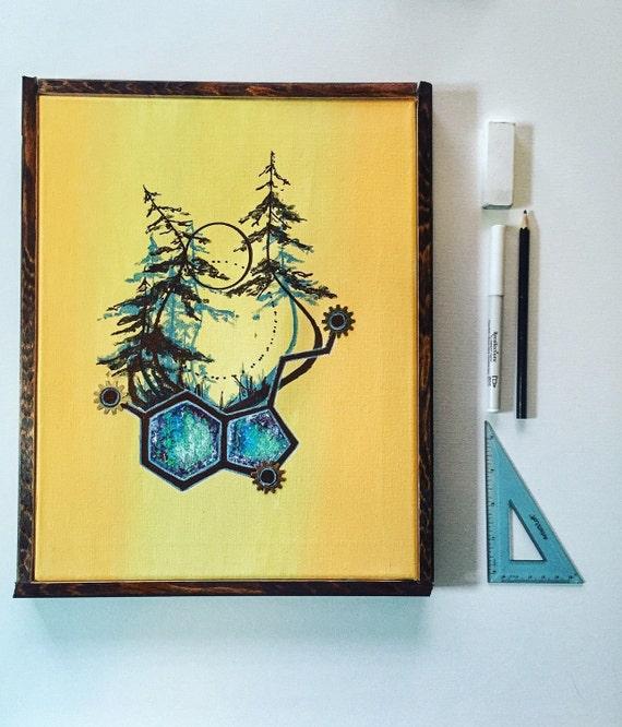 Serotonin Original acrylic painting on canvas    Geometric painting