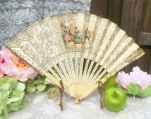 Lovely Antique Ladies' Hand Fan, Floral, 18th c. Courtship, Paper, Folding, Romantic, Shabby Chic, Victorian, Gold
