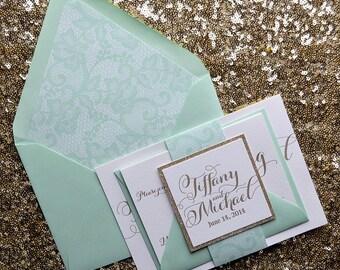 Ordinaire Mint U0026 Gold Lace Wedding Invitation, Lace Wedding Invite, Calligraphy  Invitation, Mint Invitation