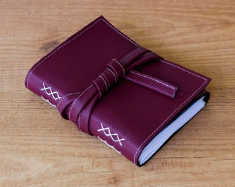 Burgundy faux leather journal, Vegan travel journal, Small notebook, Handmade notebook, A6 Personalized diary, Blank notebook