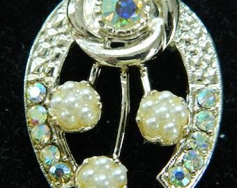 Vintage Rhinestone AB Horseshoe Pin/Brooch