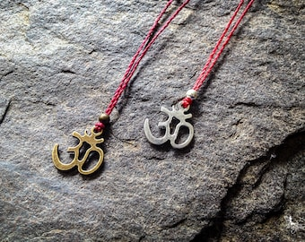 Red string Om Necklace yoga meditation crimson thread symbol luck protection boho jewelry by Creations Mariposa