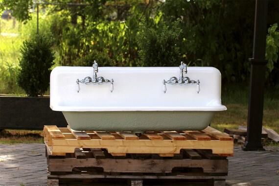 48 Trough Sink : Refinished 48? Antique Trough Sink Double Faucet Cast Iron Porcelain ...