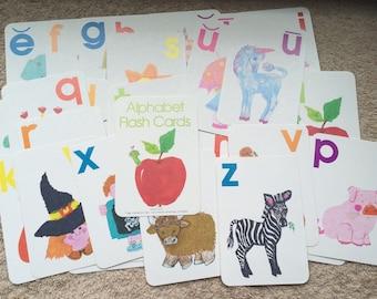 Vintage Alphabet Flash Cards Set Complete Current 1981 Home School Child Kid