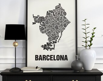 Barcelona Typographic Map Screen Print