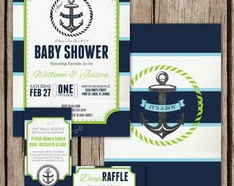 Nautical Baby Boy Shower Invitation Kit, Nautical Invite, Co-ed Baby Shower Invite, Custom Baby Shower Invitation, Navy, Lime Green, Stripes