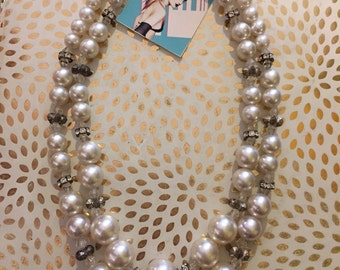 BEJEWELED AND PEARL // Double Strand Beaded 1960s Necklace