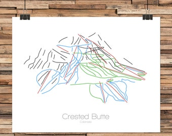 Crested Butte Colorado - Modern Ski Trail Map - Line Drawing