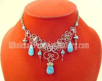 Chinese Turquoise Teardrops Alpaca Silver Clovers Inca Necklace Peruvian Jewelry Art - Handmade in Peru