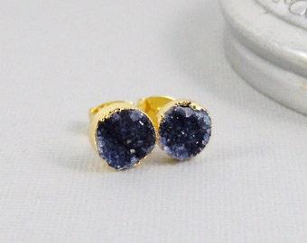 Navy Blue Studs,Blue Druzy,Blue Druzy Earring,Blue Druzy STud,blue Post Earring,Gold EArring,Blue Earring,Blue Post Earring,seamaidenjewlery