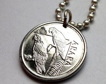 1993 Brazil 5 Cruzeiros coin pendant colorful MACAW PARROTS tropical Brazilian necklace Amazon jungle jewelry birds Rio n000999
