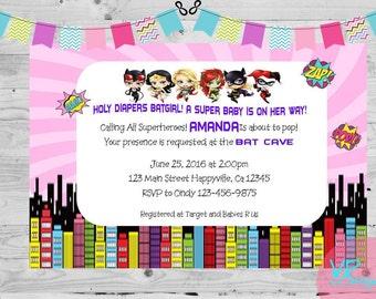 Superhero Girls Birthday/Baby Shower Invitation, Batgirl, Supergirl, Harley Quinn, Catgirl, Poison Ivy, Digital File DIY printing