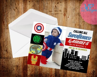 The Avengers Birthday Invitation, Set of 15 PRINTED INVITATIONS with ENVELOPES, with photo