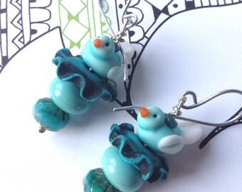 Bluebird earrings, chirpy birds, blue birdie earrings, over the rainbow, tweet