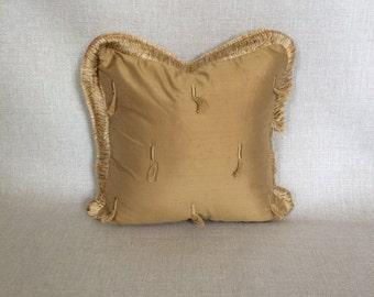 12x12 Gold Tassel Square Pillow