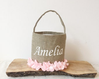 Personalized easter basket girlish easter basket girls personalized burlap easter basket easter basket for girl  pink easter basket
