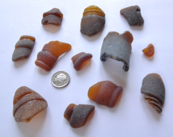 Lot Of Craft Grade Loose Brown Sea Glass Bottle Pieces From Scotland - Beach Seaglass