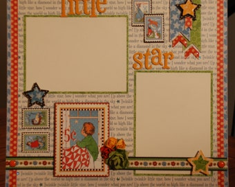 "12x12 ""Little Star"" premade scrapbook page"