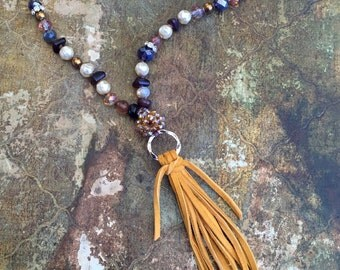 Bohemian Style, Hand Knotted, Leather Tassel